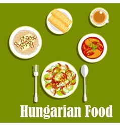 Dinner with dessert of hungarian cuisine vector