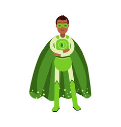 ecological superhero man in green costume standing vector image