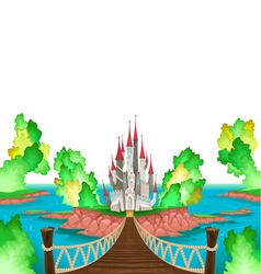 Fantasy landscape with castle white sky vector