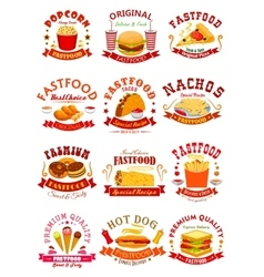 Fast food isolated icons emblems ribbons vector
