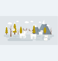 forest landscape in winter with wild animal vector image