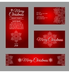 Four cards with white snowflakes on red background vector image vector image