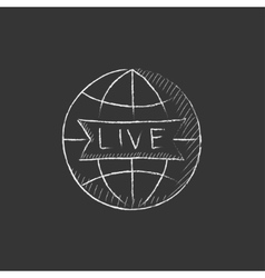 Globe with live sign drawn in chalk icon vector