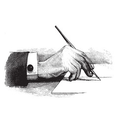 Hand holding a pen of rear view vintage engraving vector