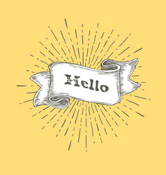 hello hello icon in vintage hand drawn ribbon vector image vector image