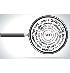 magnifying SEO vector image vector image