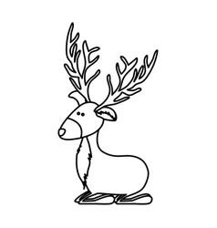 Monochrome contour caricature of funny reindeer vector