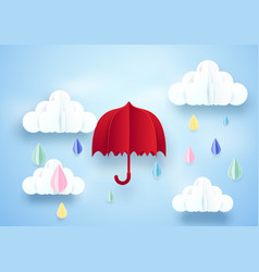red umbrella and rainy on clouds background paper vector image vector image