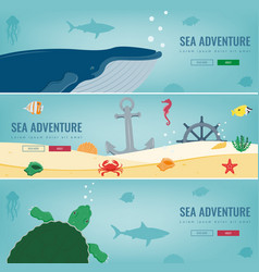 Sea icons and symbols set sea animals nautical vector