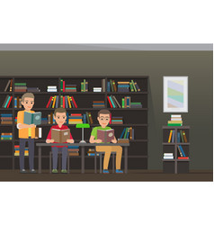 Students reading textbooks in library flat vector
