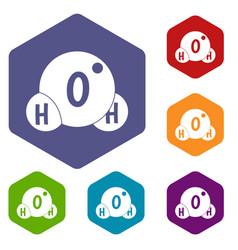 water molecule icons set hexagon vector image vector image