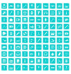 100 portable icons set grunge blue vector