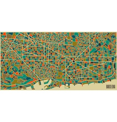 Barcelona colourful city plan vector image