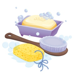 A sponge a brush and a soap vector