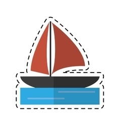 Sailboat navigation water recreation cutting line vector