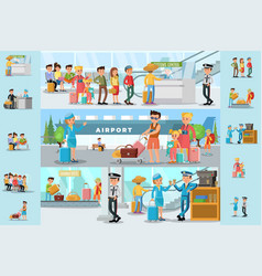 people in airport infographic template vector image