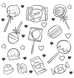 Doodle of object candy various vector