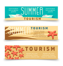 Summer tourism banner template with yacht and vector