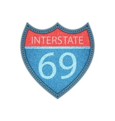 Interstate highway sign  denim style vector