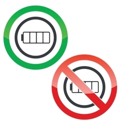 Empty battery permission signs vector