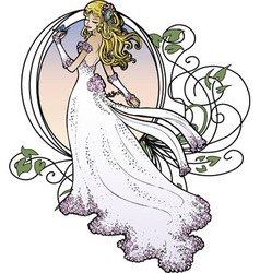 art nouveau bride vector image