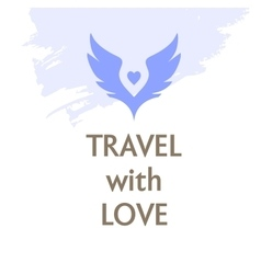 Poster travel with love wings and heart vector