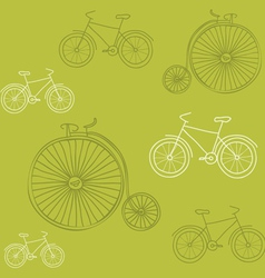 Seamless background with retro bicycles - for desi vector