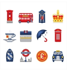 London and england icon set vector
