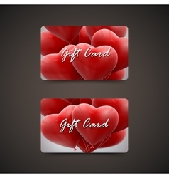 Gift cards with balloon hearts vector