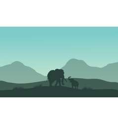 Elephant silhouette in fields vector