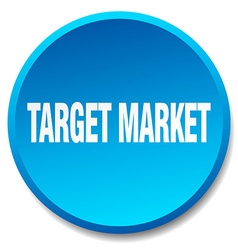 Target market blue round flat isolated push button vector