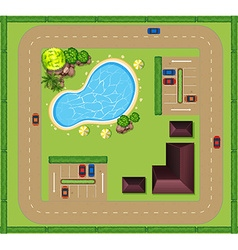 Aerial view of luxurious house vector image vector image