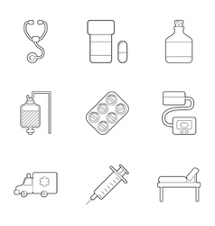 Ambulance service icons set outline style vector image vector image