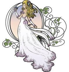 Art nouveau bride vector
