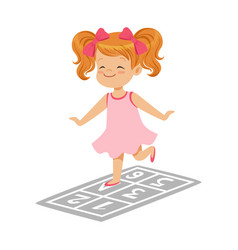 beautiful little girl in a pink dress playing vector image