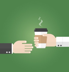 Businessman recieve paper cup of coffee from vector