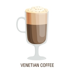 Coffee cups different cafe drinks venetian vector image vector image