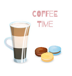 Coffee drink and macaroons vector
