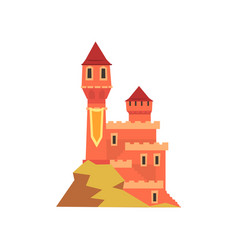 Colorful royal castle with towers standing on hill vector