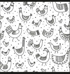 Ethnic style linear birds seamless pattern vector