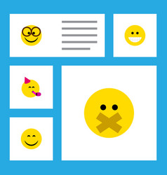 Flat icon gesture set of pleasant smile hush and vector