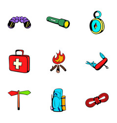 Forest leisure icons set cartoon style vector