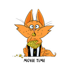 funny cat eat popcorn and watching a movie vector image vector image
