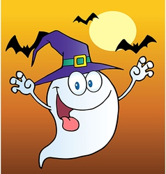 Ghost Wearing A Witch Hat Over Bats On Orange vector image vector image