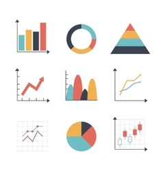 Graph icon set vector