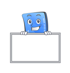 Grinning credit card character cartoon with board vector