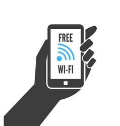 Hand holding smartphone with free wifi vector image
