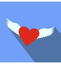 Heart with wings flat icon vector