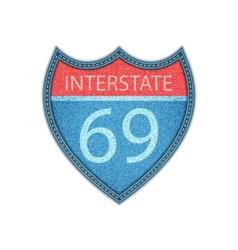 Interstate highway sign denim style vector