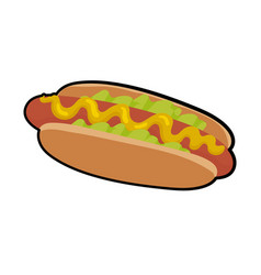 isolated of delicious hotdog vector image